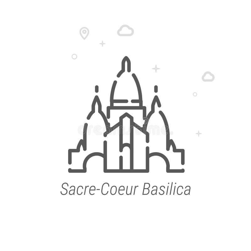 Базилика священного сердца линии значка вектора Парижа, символа, пиктограммы, знака предпосылка геометрическая Editable ход иллюстрация вектора