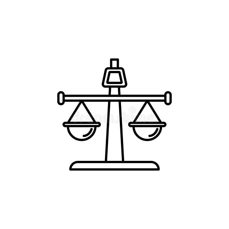 Баланс, прямой значок Элемент значка закона и правосудия Тонкая линия значок для дизайна вебсайта и развития, развития app бесплатная иллюстрация