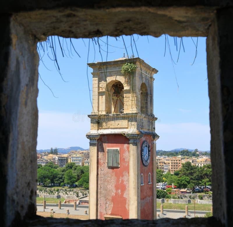Башня с часами старой крепости Корфу, Kerkyra, острова Корфу, Греции, Европы стоковое фото