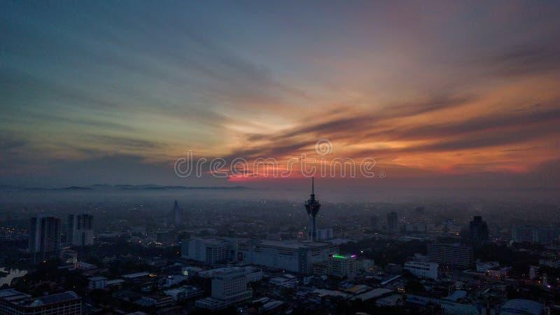 Башня Alor Setar одно из известного места, который нужно посетить Красивый ландшафт вида с воздуха в Kedah Малайзии стоковые изображения