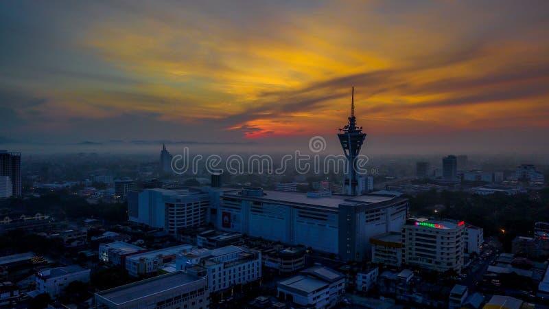 Башня Alor Setar одно из известного места, который нужно посетить Красивый ландшафт вида с воздуха в Kedah Малайзии стоковое изображение rf