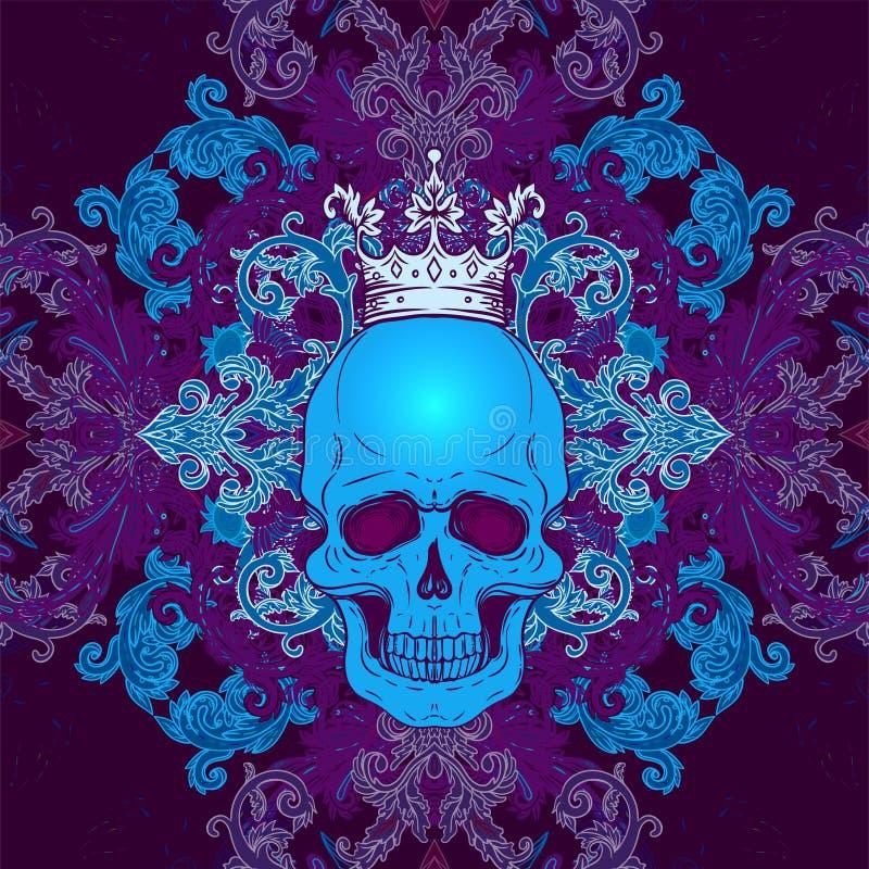 Барочный безшовный орнамент Картина стиля штофа с черепом Винтажный богато украшенный дизайн для обоев, оболочки иллюстрация вектора