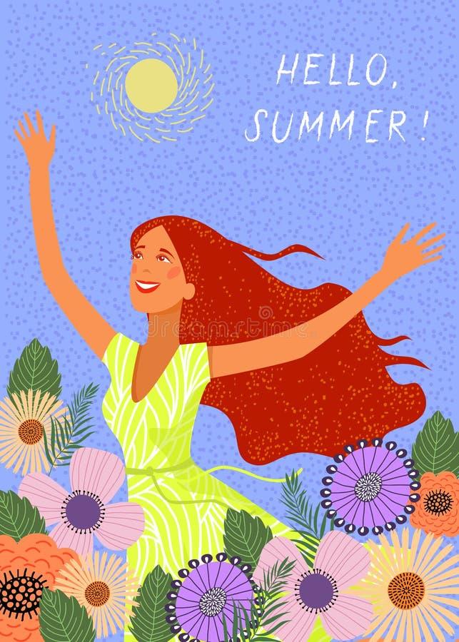 Бежать радостная девушка redhead на предпосылке цветков doodle Милая иллюстрация вектора бесплатная иллюстрация