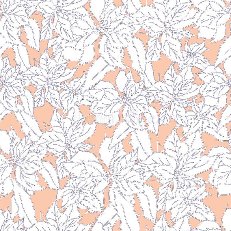 Бежевая чувствительная флористическая предпосылка с белыми цветками Бесконечные текстуры иллюстрация вектора