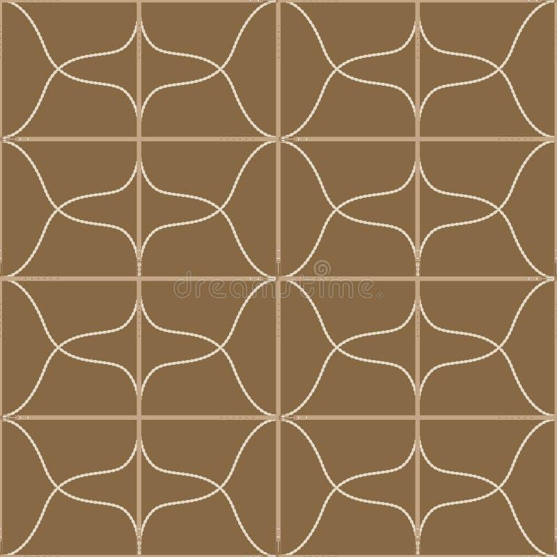 Безшовная геометрическая картина с поясами, веревочками и пряжками Сложная печать вектора в прованском, желтый, загорает и сливк бесплатная иллюстрация