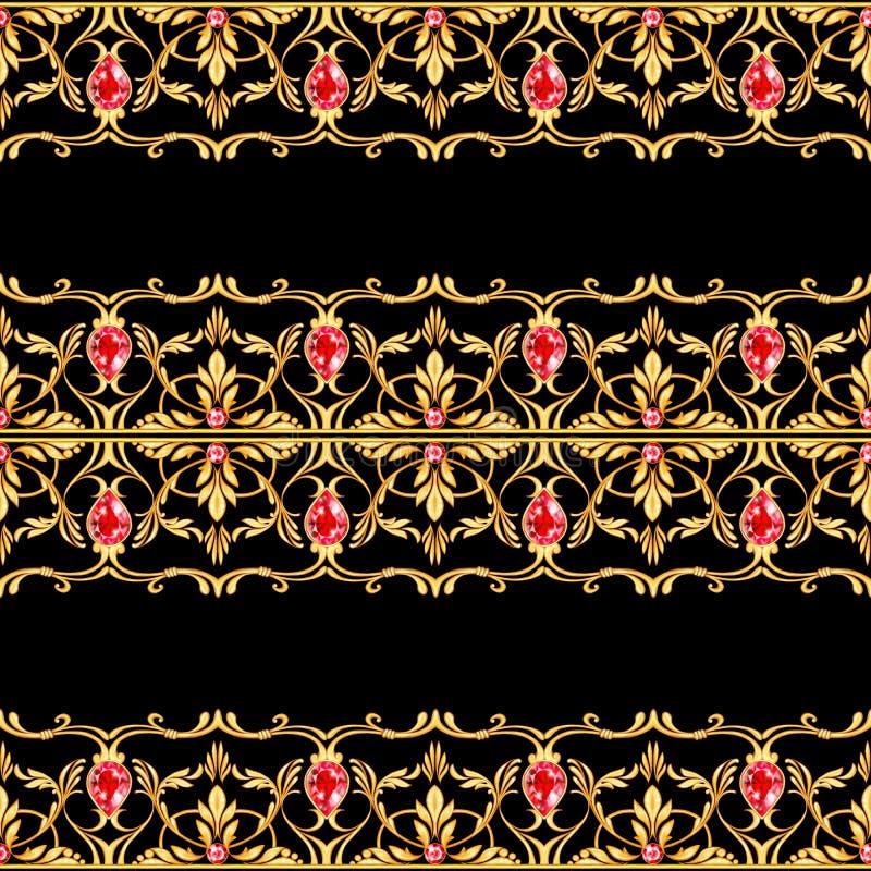 Безшовная граница ювелирных изделий Золотые перечени и рубин иллюстрация вектора