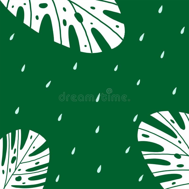 Безшовная зеленая предпосылка с падениями и заводами иллюстрация штока