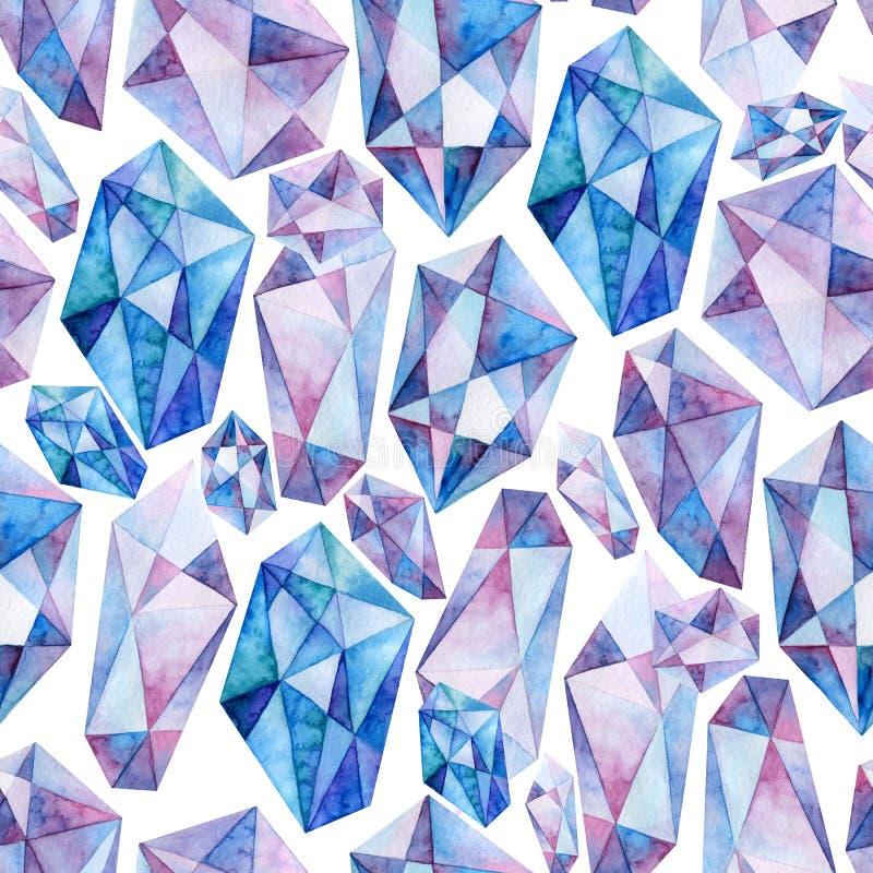 Безшовная картина акварели голубых и пурпурных кристаллов на белой предпосылке иллюстрация штока