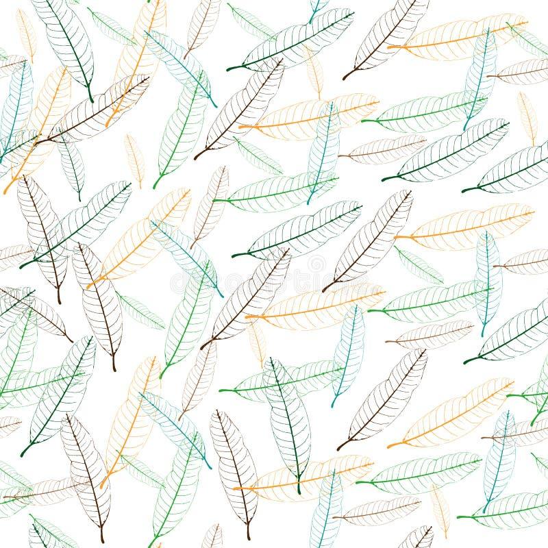 Безшовная картина красочных лист манго стоковые фото