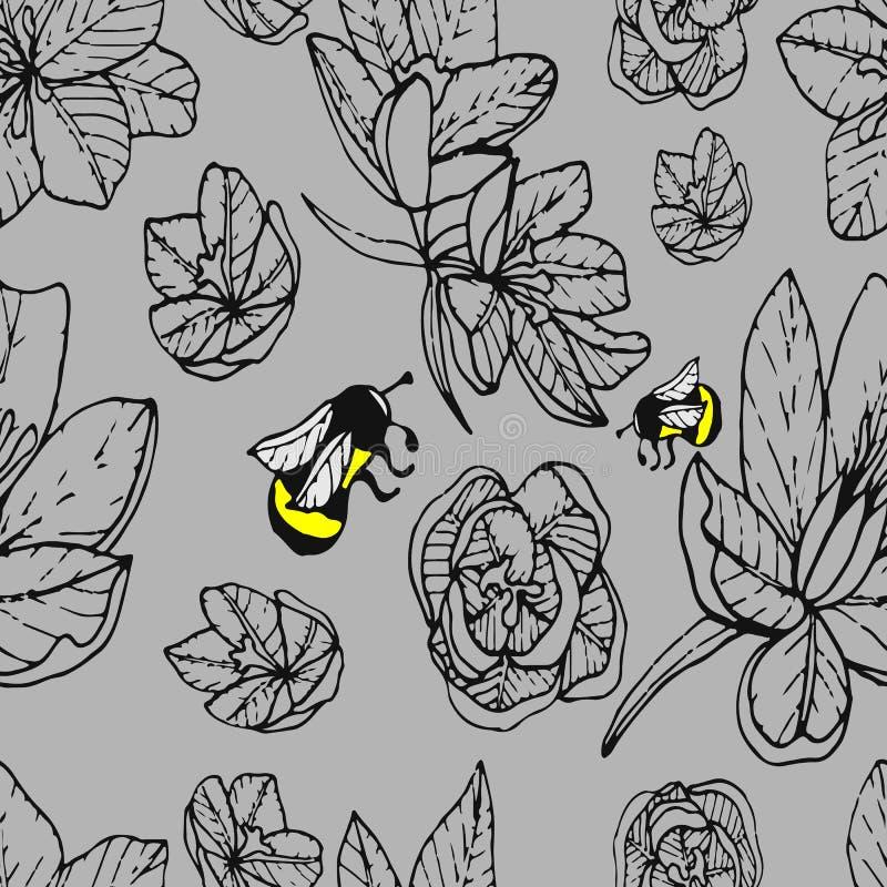 Безшовная картина крокусов весны иллюстрация штока