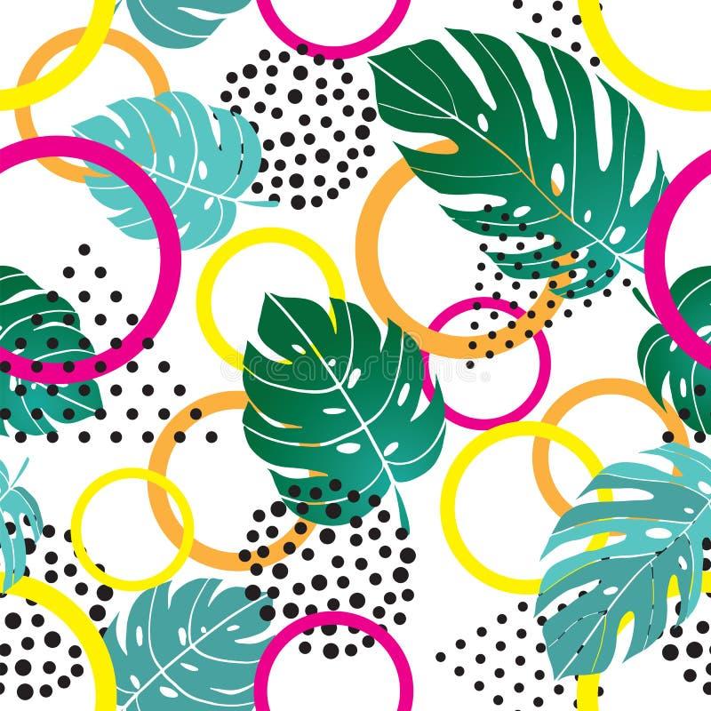 Безшовная картина лета bstract с геометрическими формами и тропическими листьями monestera, стилем Мемфиса иллюстрация штока