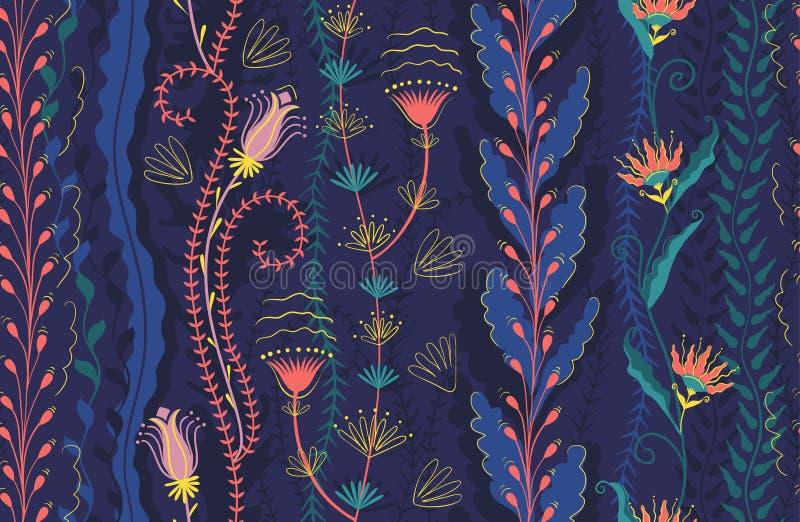 Безшовная картина, покрашенная морская водоросль и цветки Цвета пинка коралла водорослей глубоководья, голубых, пурпурных и желты иллюстрация вектора