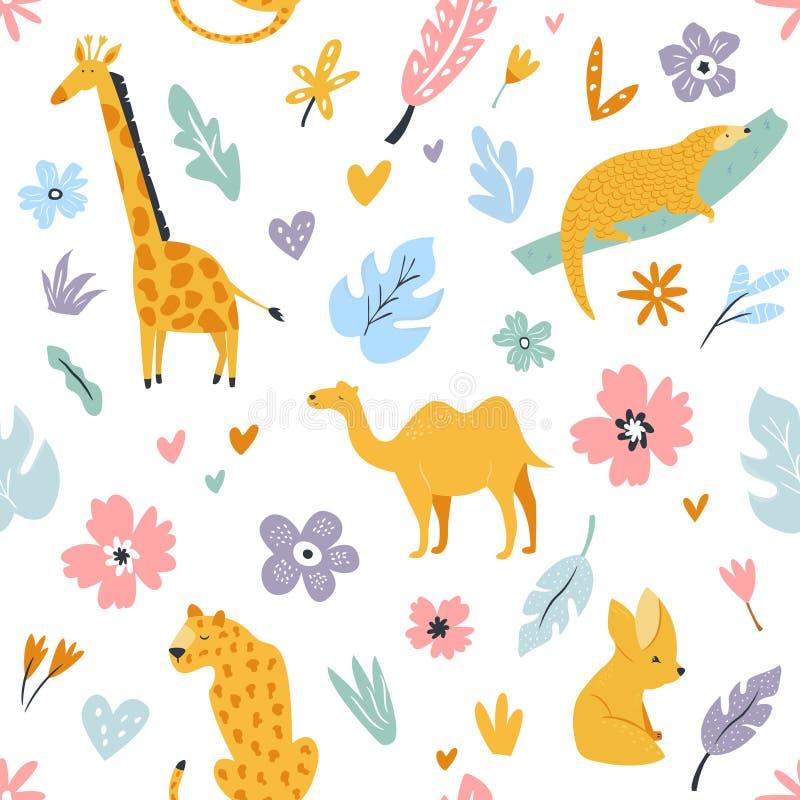 Безшовная картина с африканскими животными и флористическими печатями бесплатная иллюстрация
