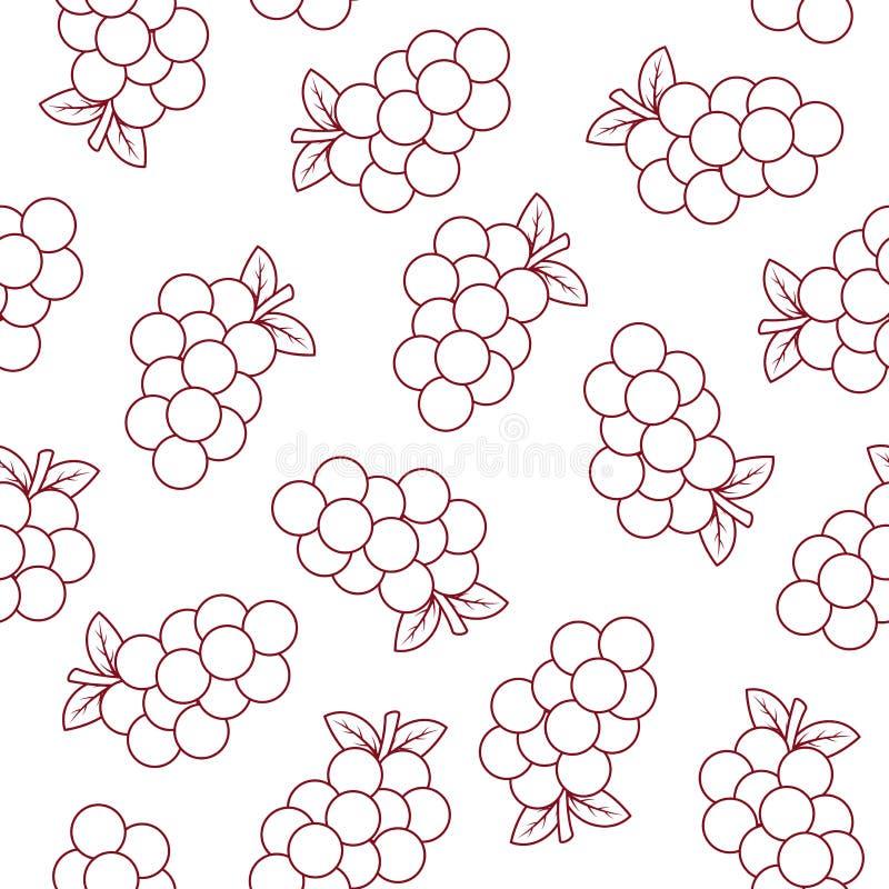Безшовная картина с виноградинами иллюстрация штока
