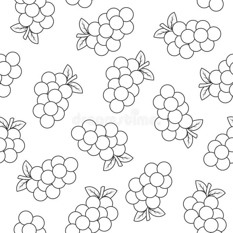 Безшовная картина с виноградинами иллюстрация вектора