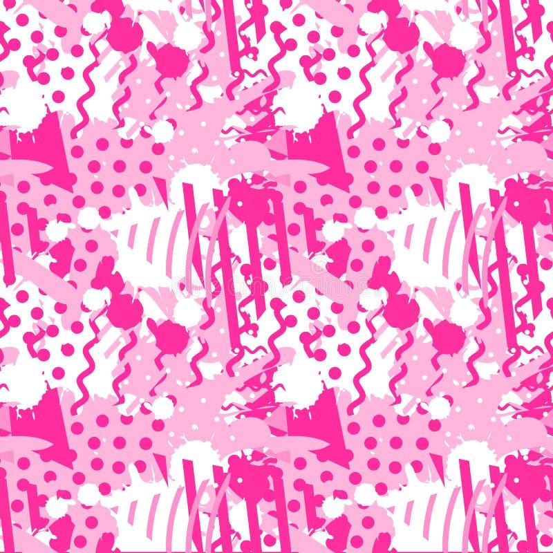 Безшовная картина с геометрическими формами и абстрактными жидкими формами Цвет в тенях ультрамодного пластикового розового цвета иллюстрация вектора