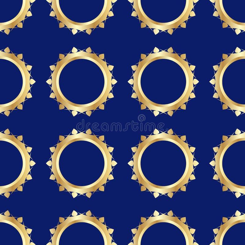 Безшовная картина с золотыми обручальными кольцами на темной предпосылке Изображение сделано в реалистическом стиле иллюстрация штока