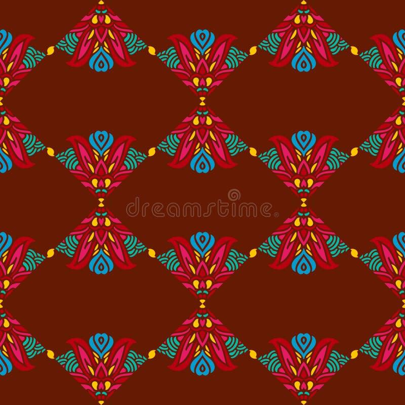 Безшовная картина с индийскими этническими элементами бесплатная иллюстрация