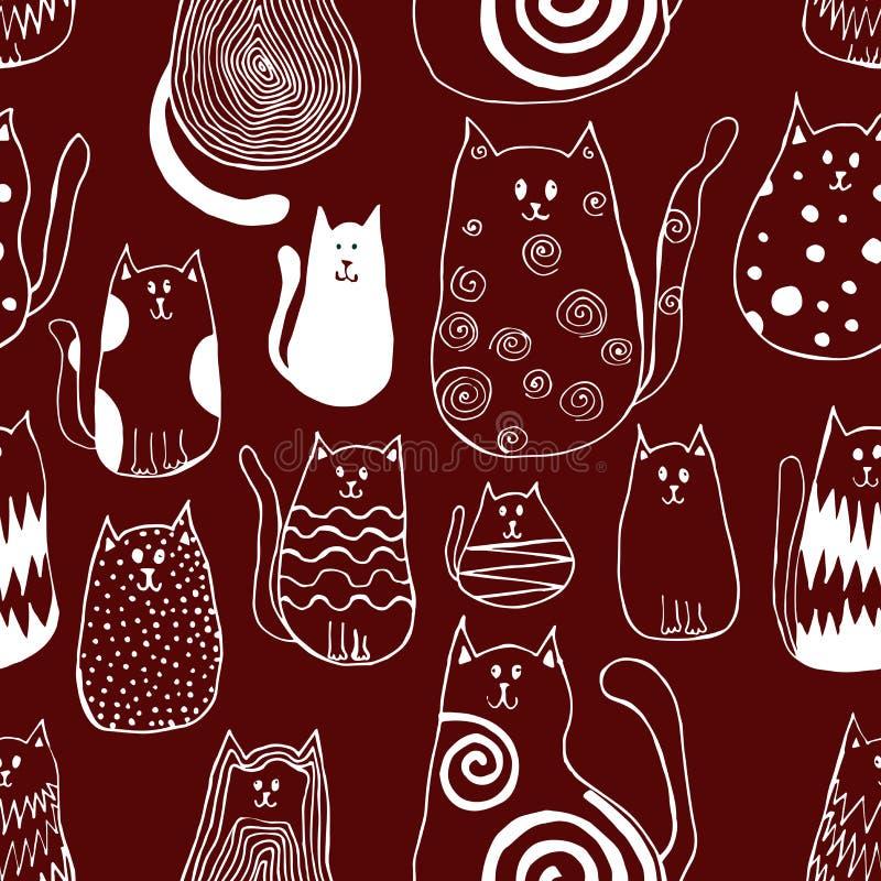 Безшовная картина с милыми котами doodle Искусство плана животное иллюстрация вектора