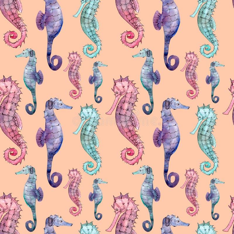 Безшовная картина с морским коньком иллюстрация вектора