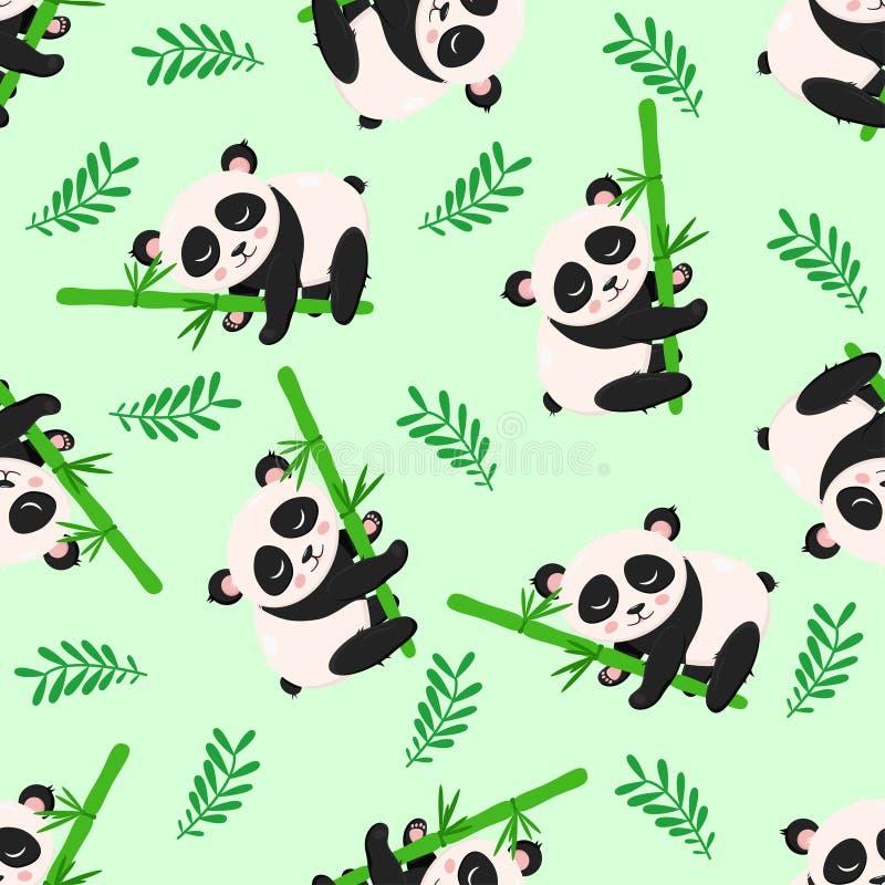Безшовная картина с пандой и бамбуком - иллюстрацией вектора, eps бесплатная иллюстрация