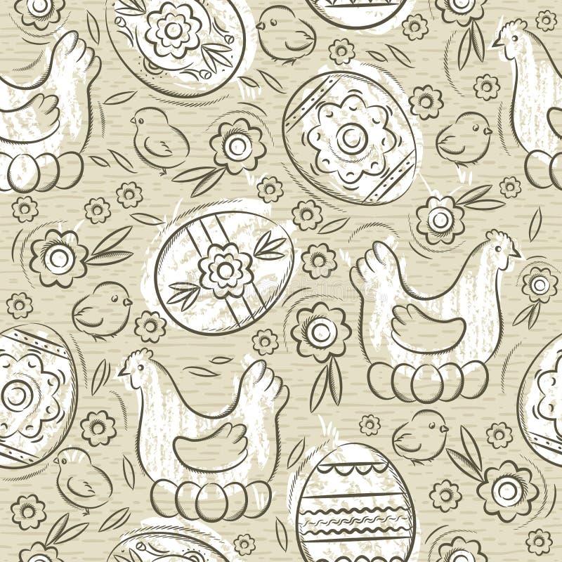 Безшовная картина с ПАСХАЛЬНЫМИ ЯЙЦАМИ, цветками, листьями, цыпленоком и курицей на бежевой предпосылке Нарисованные вручную деко бесплатная иллюстрация