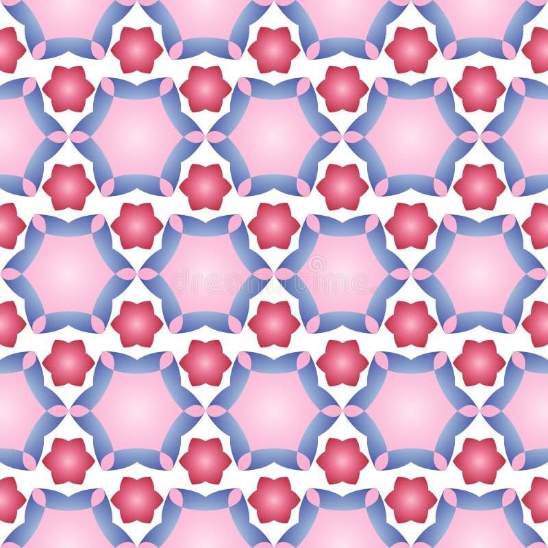Безшовная картина с приказанным расположением абстрактных геометрических форм Изображение звезд и цветков на белой предпосылке цв бесплатная иллюстрация