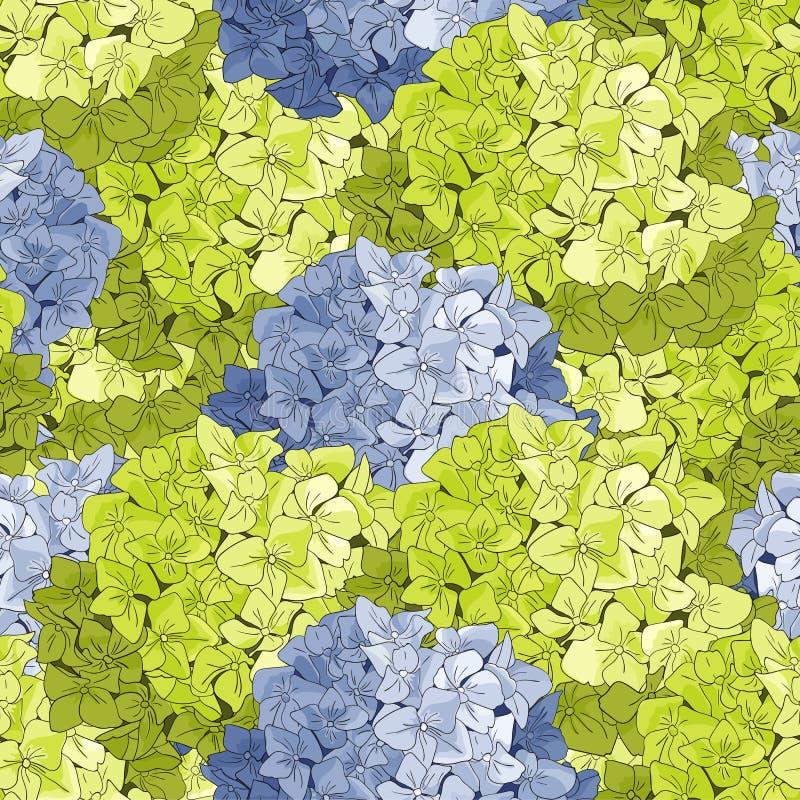 Безшовная картина с цветками и листьями гортензии Предпосылка стиля акварели флористическая иллюстрация вектора