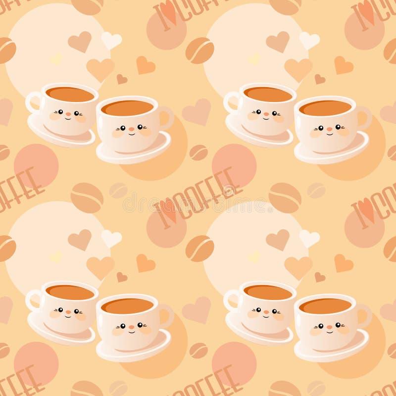 Безшовная картина с чашками кофе и словами бесплатная иллюстрация
