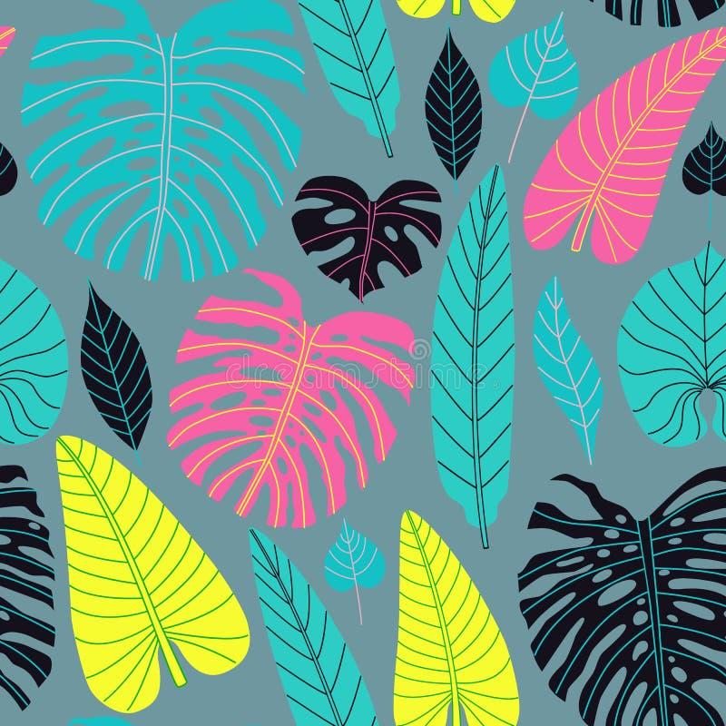 Безшовная картина тропических листьев в плоском стиле бесплатная иллюстрация