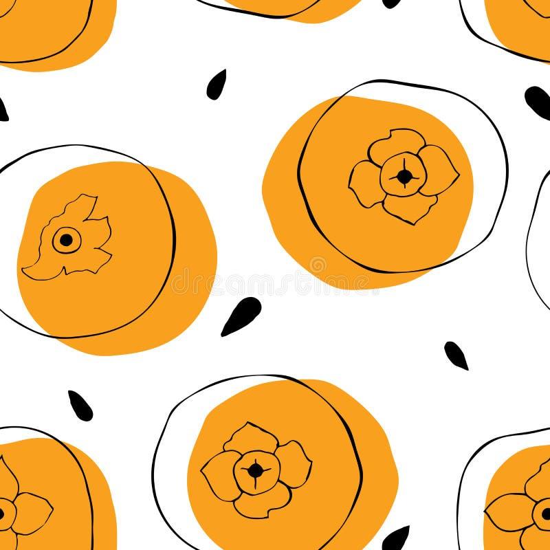 Безшовная картина хурмы с семенами Яркая предпосылка тропических плодов иллюстрация штока