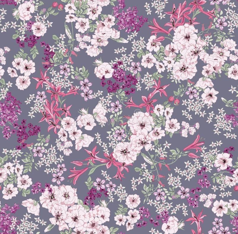 Безшовная картина состоя из lillys и листьев роз на серой предпосылке иллюстрация вектора