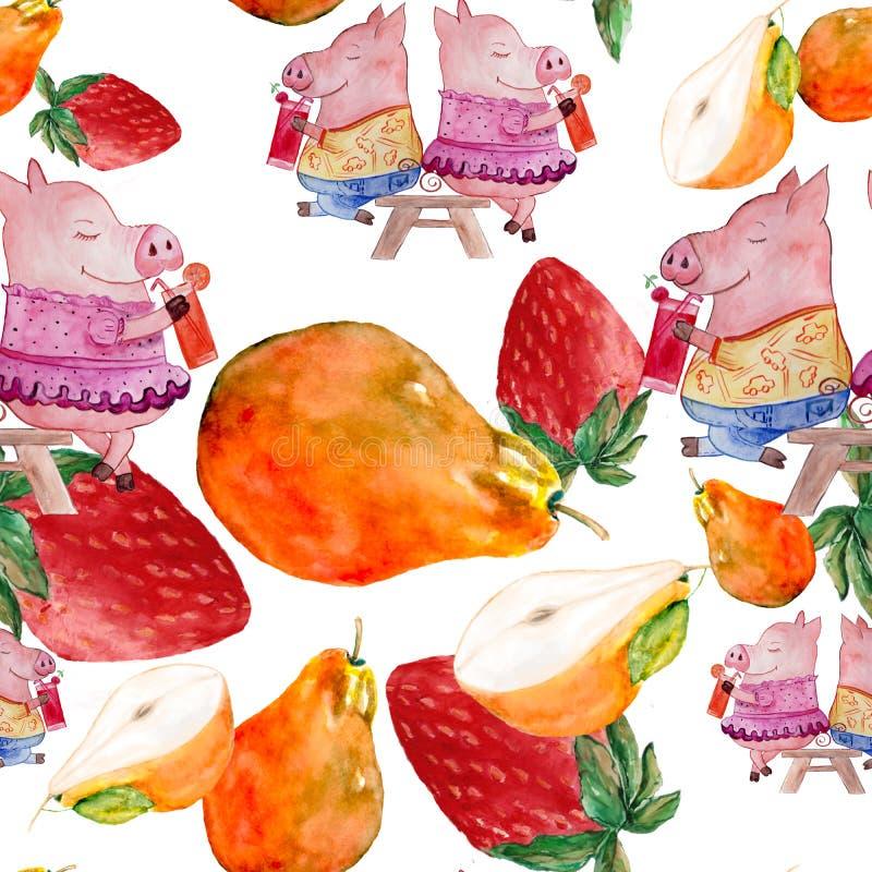 Безшовная картина со свиньями и плодами характеров акварели иллюстрация вектора