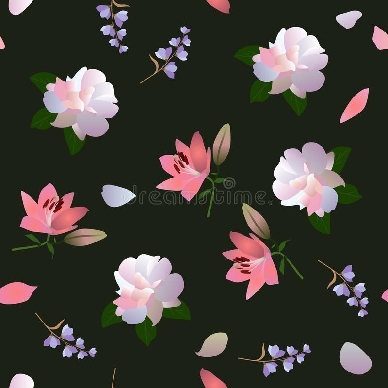 Безшовная квадратная флористическая ditsy картина с белыми розами, розовыми лилиями и маленькими цветками колокола на черной пред иллюстрация штока
