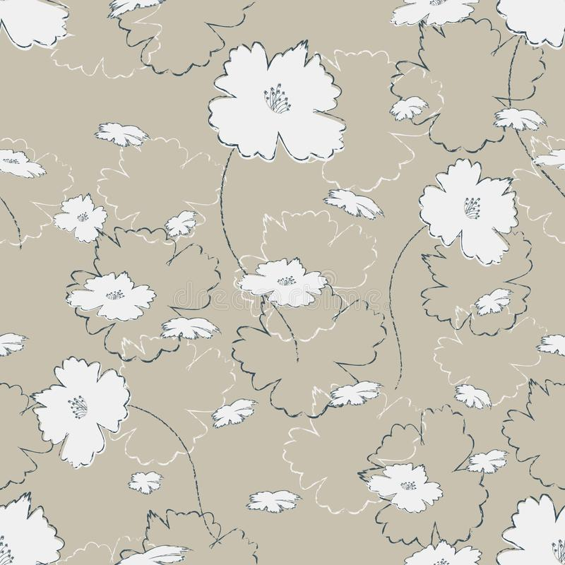 Безшовная милая картина в милых белых цветках на мешковине любящей Флористическая печать для ткани, производства ткани, обоев, по бесплатная иллюстрация