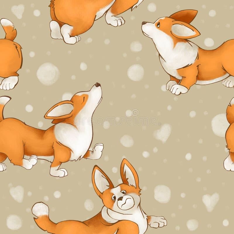 Безшовная милая картина с собаками corgi породы Настроение лета с щенятами на светлой бежевой предпосылке щенок иллюстрация вектора