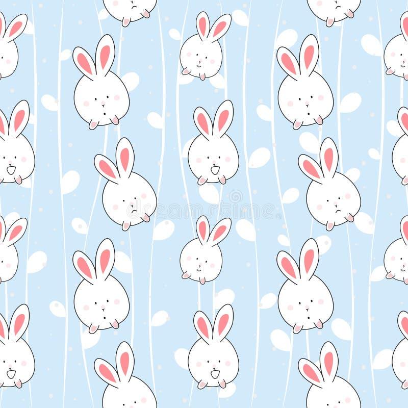 Безшовная милая предпосылка картины мультфильма кролика стоковые фотографии rf