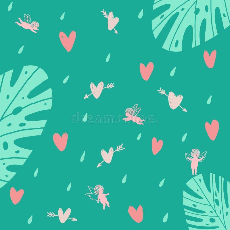 Безшовная предпосылка бирюзы с ангелами и сердцами и заводами иллюстрация штока