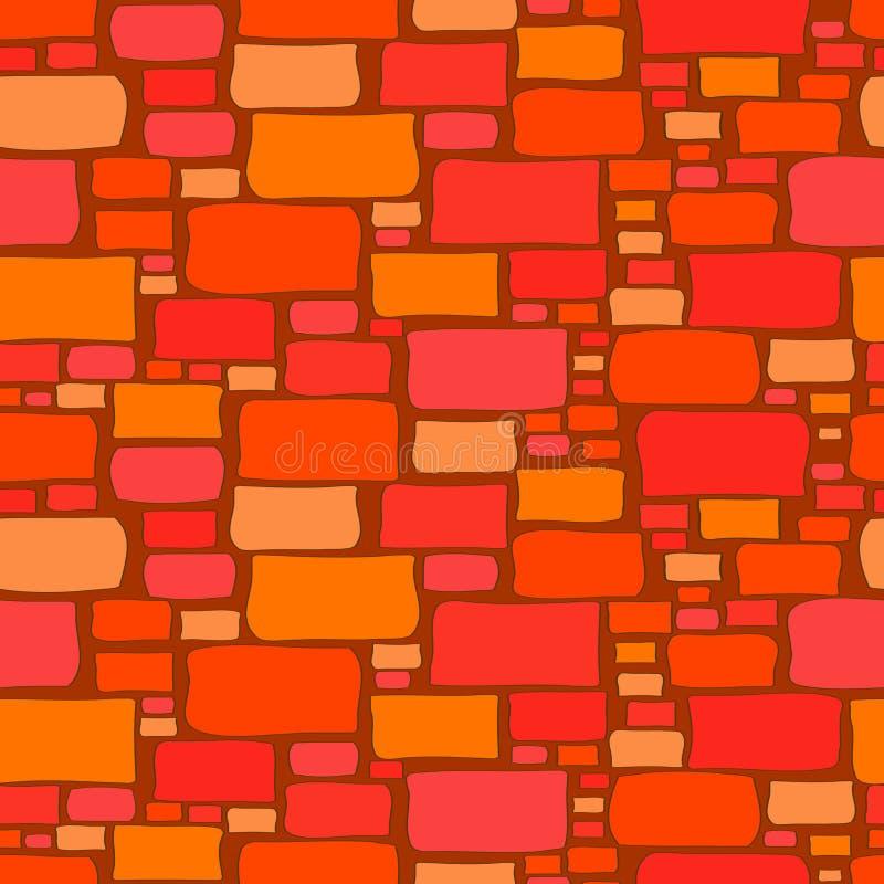 Безшовная предпосылка кирпичной стены мультфильма иллюстрация вектора
