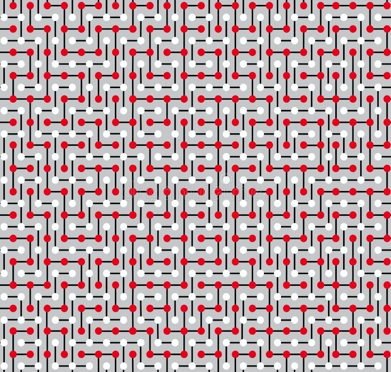 Безшовная текстура, сделанная в форме сложного лабиринта состоя из белых и красных кругов и белых этапов бесплатная иллюстрация