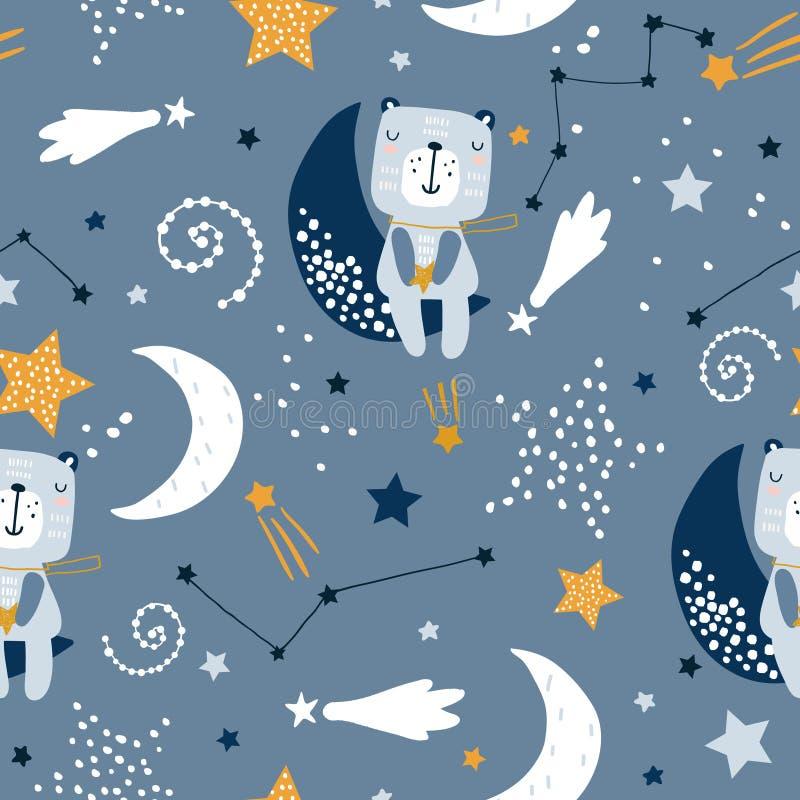 Безшовная ребяческая картина с милыми медведями на облаках, луна, звезды Творческая скандинавская текстура детей стиля для ткани, иллюстрация вектора