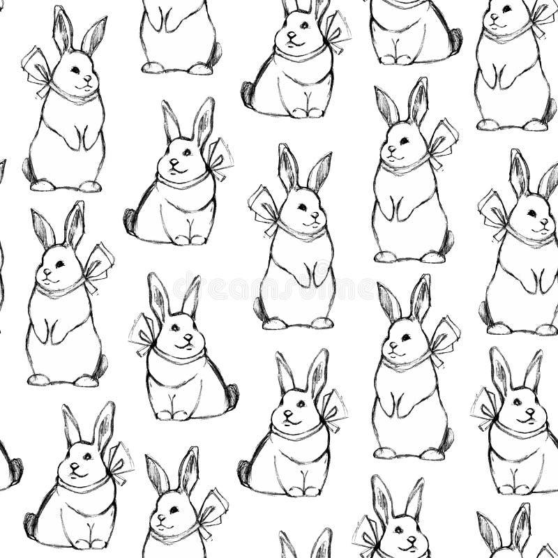 Безшовная handdrawn картина с зайчиками иллюстрация штока