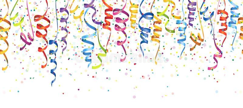 безшовные покрашенные confetti и ленты иллюстрация штока