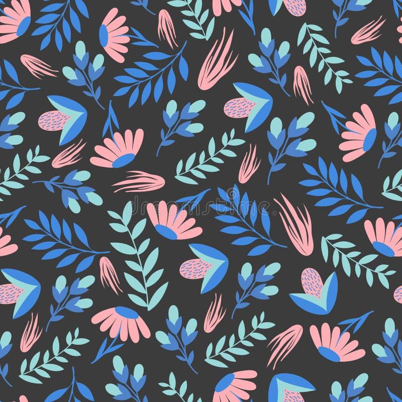 Безшовный красочный цветочный узор оборачивать вектора темы бумаги иллюстрации напитков ретро бесплатная иллюстрация