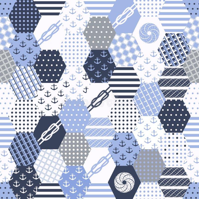 Безшовный с морским мотивом Предпосылка заплатки Coloful морская Комплект картины с филигранными орнаментами иллюстрация вектора