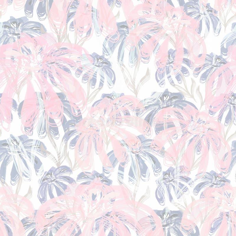 Безшовный ретро цветочный узор в серых и розовых пастельных цветах иллюстрация вектора