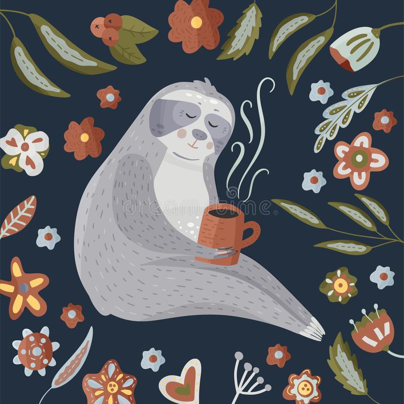 Cute cartoon sloth drinking coffee. Lazy bear round vector illustration in a flat style. Animal kids vector card with floral elements royalty free illustration