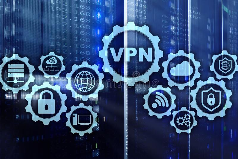 Безопасное соединение VPN Концепция безопасностью виртуальной частной сети или интернета бесплатная иллюстрация