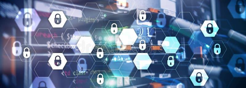 Безопасность кибер, защита данных, уединение информации Интернет и концепция технологии Комната сервера заголовка вебсайта стоковые изображения
