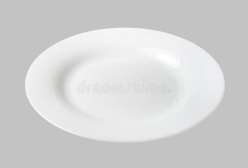 Белая плита десерта Светлый - серая изолированная предпосылка Верхний взгляд со стороны стоковые фотографии rf